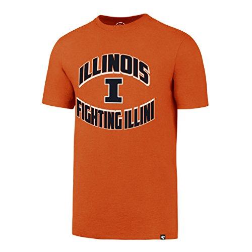 ('47 NCAA Illinois Illini Men's Diamond King Splitter Tee, Medium, Orange)