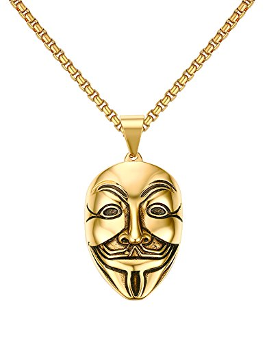 BBX Stainless Steel V for Vendetta Mask Pendant Necklace Gold,Free Chain (V Is Vendetta)