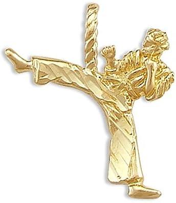 Jewel Tie Karate Kid Ninja Kick Pendant 14k Yellow Gold Charm