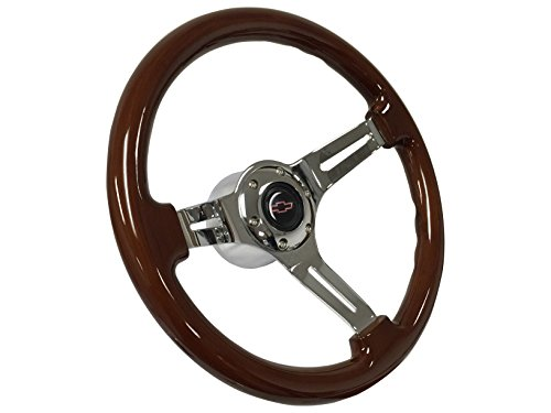 1969 - 1989 Chevy Red Bow Tie Sport Wood Mahogany Finish Steering Wheel Kit, Hub Adapter, Chrome Button & Emblem / Fits Camaro Chevelle Impala El (Sport Muscle Wheels)
