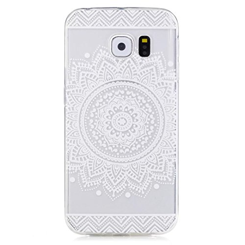 Samsung Galaxy S6 Edge Case, KSHOP Premium Accessory Ultra Thin Transparent Clear Soft Gel TPU Silicone Case Cover Bumper Shellfor Samsung Galaxy S6 Edge-White Mandala