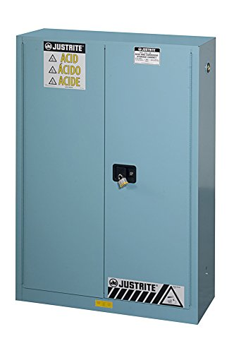 Justrite 894502 Sure-Grip EX Steel 2 Door Manual Corrosives Safety Cabinet, 45 Gallon Capacity, 43