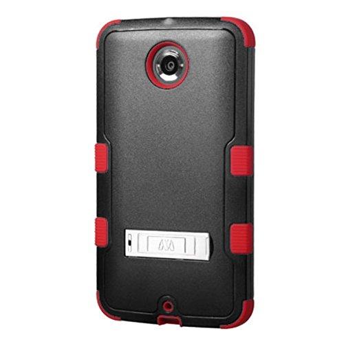 MyBat MOTOROLA XT1103 (Nexus 6) TUFF Hybrid Phone Protector Cover with Stand - Retail Packaging - Black/Red