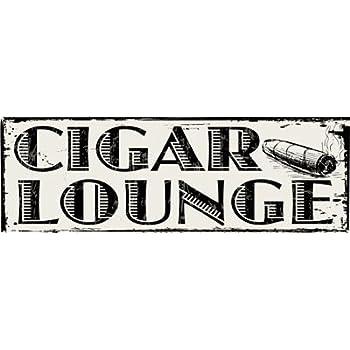 Cigar lounge metal sign man cave den decor for Bar decor amazon