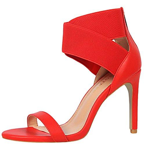 Azbro Mujer Sandalias de Tacón Alto Correa Elástica Cruzada con Puntera Abierta Rojo