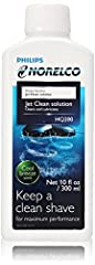 Norelco's jet Clean Solution. Cleans and maintains Norelco jet clean and charge system razors.. Instructions for use- Follow the appropriate illustrations 1-3 depending on your Jet Clean System. 1 Remove cleaning solution reservoir from appli...
