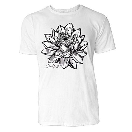 SINUS ART ® Handgemalte Lotusblüte Herren T-Shirts in Weiss Fun Shirt mit tollen Aufdruck