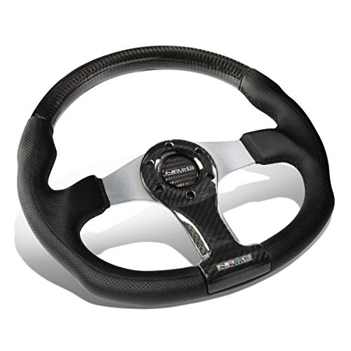 Nrg Silver Carbon Fiber - NRG Innovations ST-013CFSL Carbon Fiber Steering Wheel (350mm Silver Oval Shape)