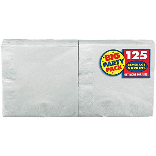 Amscan Silver Beverage Napkins Big Party Pack, 125 Ct.]()