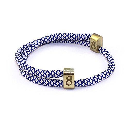 Mens Designer Titanium Bracelet (st8te Men's & Women's Adjustable Rope Bracelets - Beige/Blue Rope (Gold Slider))
