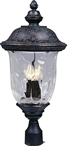 - Maxim 3420WGOB Carriage House DC 3-LT Outdoor Pole/Post Lantern, Oriental Bronze Finish, Water Glass Glass, CA Incandescent Incandescent Bulb , 60W Max., Damp Safety Rating, Standard Dimmable, Frosted Glass Shade Material, Rated Lumens