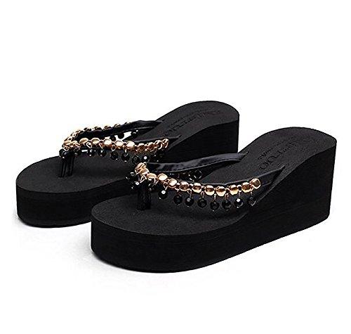 Grueso Casual Zapatos Beige Black Zapatillas Alto Mujeres Viaje UK4 EU36 Playa Paseo De Mollete Tacón CN36 US6 Fondo Verano SHANGXIAN Chancletas vq6W8Zgq