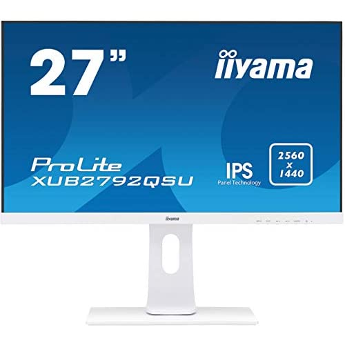 chollos oferta descuentos barato iiyama XUB2792QSU W1 Monitor IPS LED 68 5cm 27 WQHD DVI HDMI DisplayPort USB3 0 Ultra Slim Line FreeSync Regulable en altura Pivotante Blanco Mate
