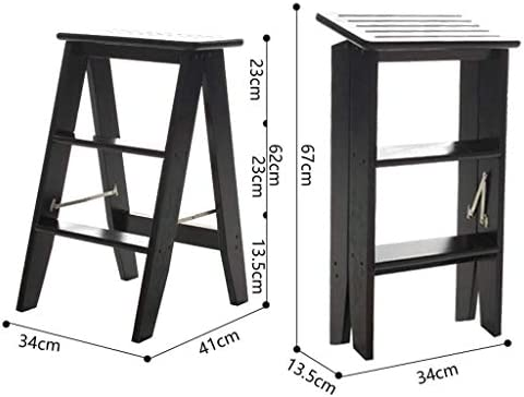 Échelles Pliantes 3 étapes Ladder Moveable Épaississement Escaliers en Bois Chaise Pliante Escabeau for Le Salon/Cuisine/Balcon échelle Tabouret Escabeaux HUXIUPING