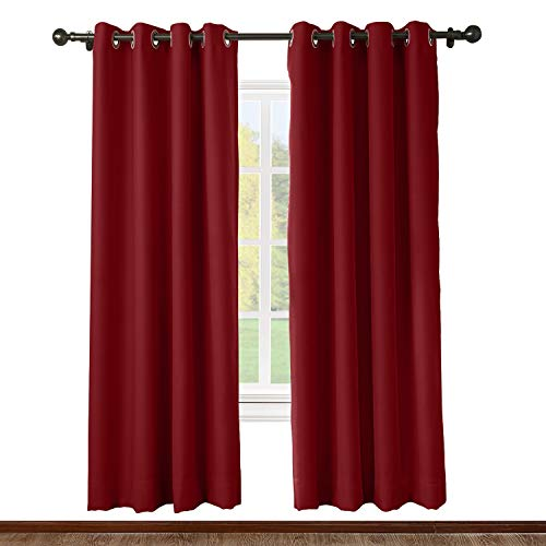 (ChadMade Solid Thermal Insulated Blackout Curtains Drapes Antique Bronze Grommet/Eyelet Red 52W x 96L Inch (Set of 2 Panels))