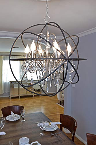 Maxim 25142OI Orbit 4-Light Pendant Single-Tier Chandelier, Oil Rubbed Bronze Finish, Glass, CA Incandescent E12 Incandescent Bulb , 2.4W Max., Damp Safety Rating, 3000K Color Temp, Standard Triac/Lutron or Leviton Dimmable, Clear + Bubble Glass Shade Material, 672 Rated Lumens