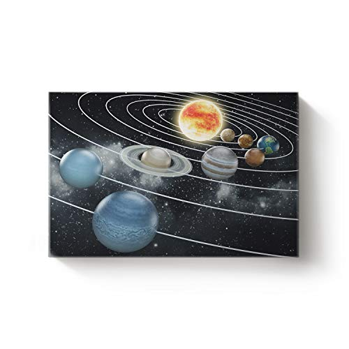 Arts Language Canvas Wall Art Artworks for Kitchen Bedroom Living Room Office Home Decor,Colorful Space Celestial Body Pattern Oil Art Painting,Stretched by Wooden Frame,Ready to Hang 24 x 36in -