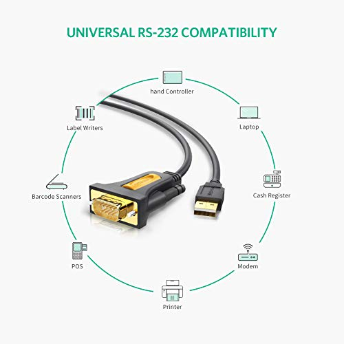 UGREEN USB 2.0 to RS232 DB9 Serial Cable Male A Converter Adapter with PL2303 Chipset for Windows 10, 8.1, 8, 7, Vista, XP, 2000, Linux and Mac OS X 10.6 and Above (6ft) by UGREEN (Image #1)