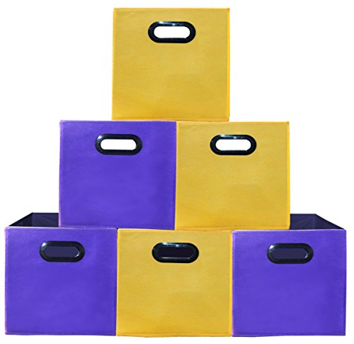 (6pack 3Yellow,3Purple) Premium Style Storage Bins, Containers, Boxes, Tote, Baskets| Collapsible Storage Cubes Household Organization |Plastic Handles | Storages Drawer (Bins Overhead Storage)