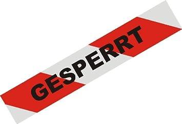 Turbo Absperrband - rot-weiß geblockt mit Gesperrt-Aufdruck: Amazon.de  AV88