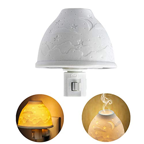 Night Lights Plug in, Kimfly Ceramic Art Night Light Wall Night Light with Essential Oil Aromatherapy Furnace and Incandescent Bulb, Suit for Bedroom, Living Room, Hallway ()