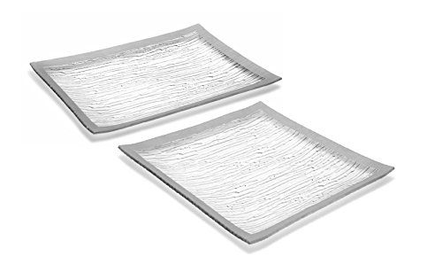 GAC Tempered Glass Tray Square Glass Platter and Rectangular Serving Tray Set Silver Decorative Serving Plates - Break and Chip Resistant - Microwave Safe - Oven Safe - Dishwasher Safe (Economy Pack) - Square Silver Tray