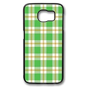 Samsung Galaxy S6 Case, Green Plaid Rugged Case Cover Protector for Samsung Galaxy S6 PC Plastic Black