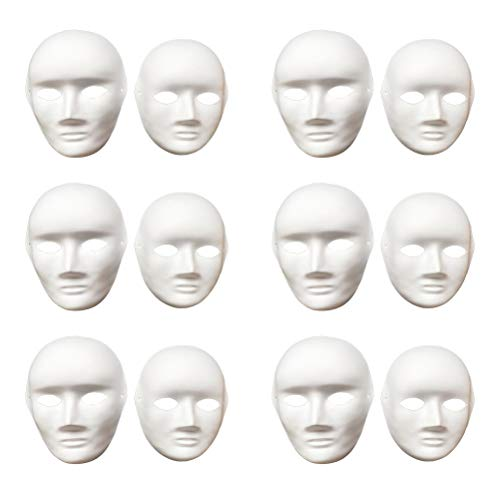 Vankcp 12 Pcs DIY White Mask, Halloween White DIY Mask,Plain Mask White Mask Paper Full Face Opera Masquerade -