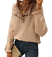 BTFBM Women's Sweaters Casual Long Sleeve Button Down Crew Neck Ruffle Knit Pullover Sweater Tops...