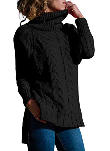 Cashmere Sweater Cable (CILKOO Womens Plus Size Fall Sweater Black Casual Cowl Neck Loose Fit Cable Knit Cashmere Sweater Tunic Pullover Jumper US16-18 X-Large)