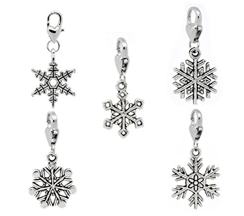 Snowflake Clip On Charms with Heart Lobster Clasps Lot of 30