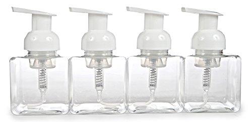 Price comparison product image Vivaplex,  4 New, ,  8.5 oz (250 ml),  Square,  Clear,  Plastic Foaming Soap Dispensers,  with White Pumps
