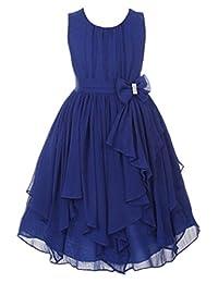 YMING Big Girl Kids Sleeveless Asymmetric Chiffon Flower Party Bridesmaid Dress