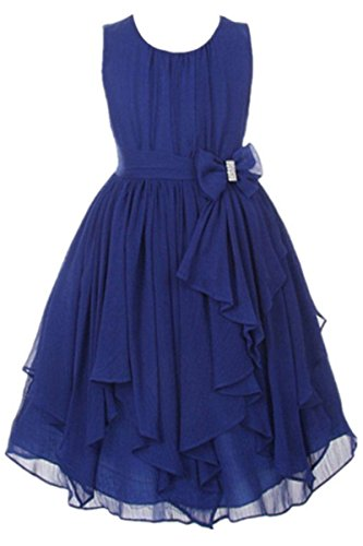 YMING Sleeveless Chiffon Asymmetric Ruffled Flower Girl Dresses Navy Blue 8-9 Years (Blue Peter Halloween Decorations)