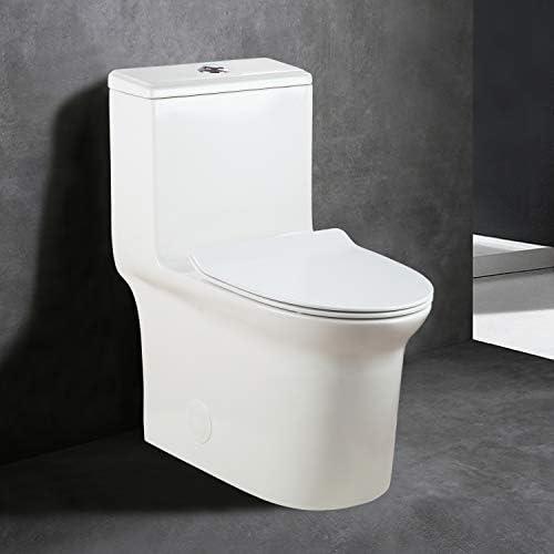 WinZo Elongated Dual Flush One Piece Toilet 0.8/1.6GPFSoft Closing Seat 3 inch Valve Standard Height White-WZ5067