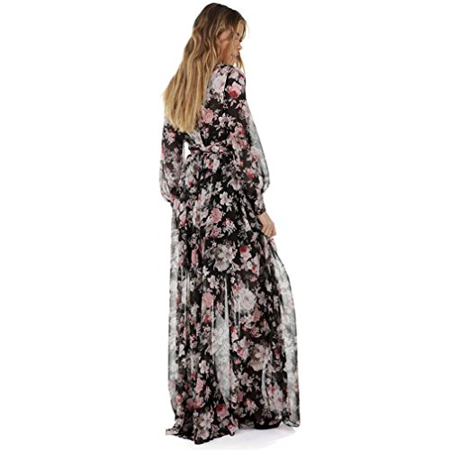 OverDose Frauen VAusschnitt Chiffon Blumen langes Maxi Kleid Langarm ...