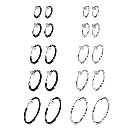Evevil 10 Pairs Clip On Earrings Fake Earrings Halloween Accessory Costumes Hypoallergenic Non-Piercing Clip On Hoops Earrings, Steel Plated & Black Plated Color