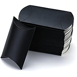 Vlovelife Black Paper Pillow Favor Gift Box Wedding Party Favour Anti-Scratch Gift Candy Box Pack Of 100