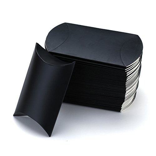 (Vlovelife Black Paper Pillow Favor Gift Box Wedding Party Favour Anti-Scratch Gift Candy Box Pack Of)