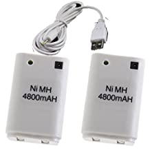 Besdata Ultra High Capacity 2-pack Rechargeable Batteries & Charger for Xbox 360 Wireless Controller - White - W0050