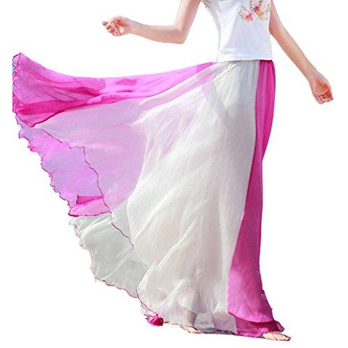Hibote Femme Jupe Boheme lastique En Mousseline De Soie Longue Robe De Plage Maxi Jupe Demi-Longueur Robe De Plage En Mousseline 4#