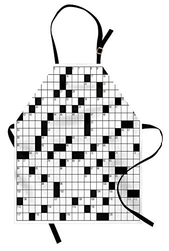 SODIKA Word Search Puzzle Apron, Kitchen Bib Apron Adjustable for Cooking Baking Gardening Unisex Machine Washable - Classical Crossword Puzzle with Black and White Boxes and Numbers, Black and White