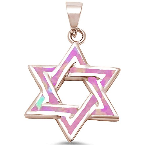 Star Of David White Necklace - Oxford Diamond Co Lab Created Opal Star of David .925 Sterling Silver Pendant Blue or White (Rose Gold Plated Lab Created Pink Opal)