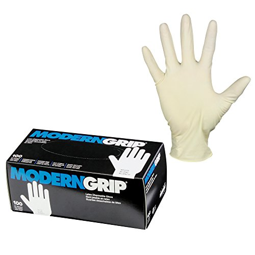 Modern Grip 19000-M Latex 9 mil Thickness Heavy Duty Disposable Gloves - Industrial and Household - Powder Free - Natural White - Medium (100 count)