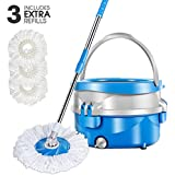 Mastertop Spin Mop and Detachable Bucket Set with 3Pcs Microfiber Mop Pad Magic Microfiber Floor Mop and Stainless Steel Spinning Bucket Set