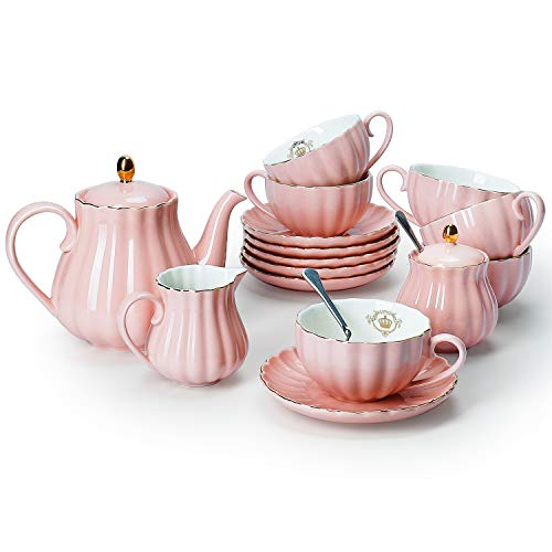 Saucer Cup Tea Teapot Set - Amazingware Porcelain Tea Set - Tea Cup and Saucer Set Service for 6, with 28 ounces Teapot Sugar Bowl Cream Pitcher Teaspoons and Tea Strainer - for Thanksgiving - Pumpkin Fluted Shape, Pink