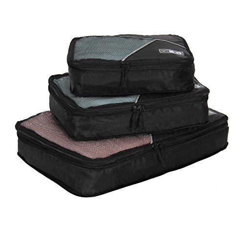 Hynes Eagle Travel Compression Packing Cubes Expandable Packing Organizer 3 Pieces Set Black