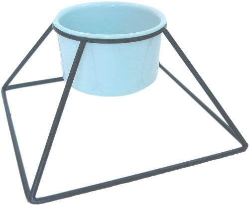 (YML 5-Inch Wrought Iron Stand with Single Plastic Feeder Bowls, 20-Ounce)