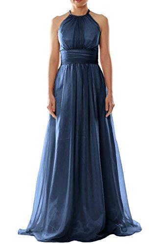 MACloth Women Halter Chiffon Long Bridesmaid Dress Wedding Party Evening Gown (26w, Dark Navy)