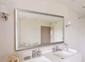 """Hitchcock Butterfield Catalina Modern Nickel Silver Framed Hanging Wall Mirror, 25"""" W x 35"""" H"""